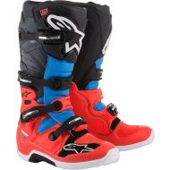 Alpinestars 2018 Tech 7 Boots Red Fluo/Cyan/Gray/Black