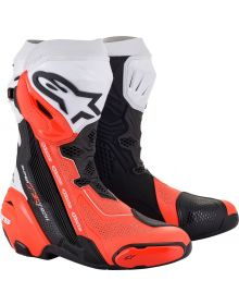Alpinestars Supertech R v2 Vented Boots Black/White/Red Fluo