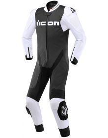 Icon Hypersport Leather 1-PC Suit Black/White