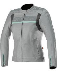 Alpinestars Stella Dyno Womens Leather Jacket Cool Gray/Aqua