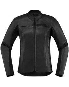 Icon Overlord Leather Womens Jacket Black