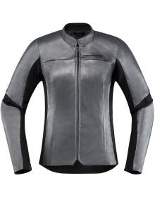 Icon Overlord Leather Womens Jacket Charcoal