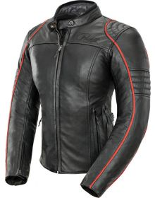 Joe Rocket Lira Leather Womens Jacket Black/Red