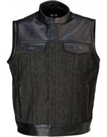 Z1R Linchpin Leather/Denim Vest Black