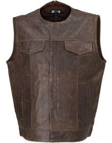 Z1R Ganja Leather Perforated Vest Brown