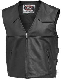 River Road Plain Zip Up Vest Black