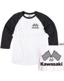 Factory Effex Kawasaki Finish Line Baseball T-Shirt White/Black
