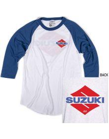 Factory Effex Suzuki Wedged Baseball T-Shirt White/Royal