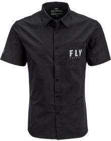 Fly Racing Button Up Pit Shirt Black