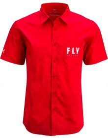 Fly Racing Button Up Pit Shirt Red