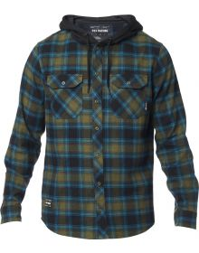 Fox Racing Avalon Hooded Flannel Shirt Olive Green
