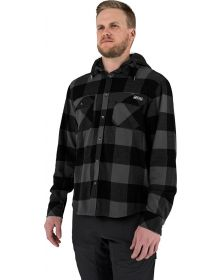 FXR Timber Hooded Flannel Shirt Charcoal/Black