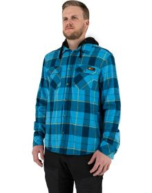 FXR Timber Hooded Flannel Shirt Sky Blue/Slate