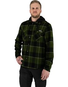 FXR Timber Hooded Flannel Shirt Army Green/Khaki