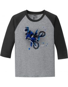 Factory Effex Moto Kids Youth Baseball Shirt Black/White