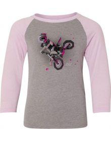 Factory Effex Moto Kids Youth Girls Baseball Shirt Pink/Heather Grey