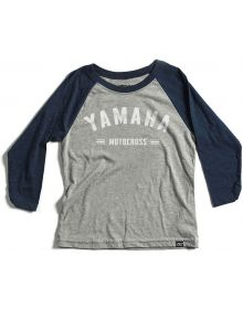 Factory Effex Yamaha Speedy Youth Baseball 3/4 Sleeve Shirt Navy/Heather Gray