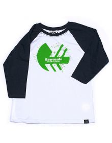 Factory Effex Kawasaki Cased Youth Baseball 3/4 Sleeve Shirt Black/White