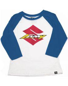 Factory Effex Suzuki Army Youth Baseball 3/4 Sleeve Shirt Royal/White