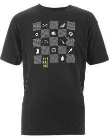 Fly Racing Checkers Youth T-Shirt Black