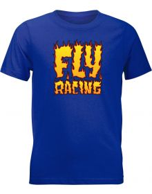 Fly Racing Fire Youth T-Shirt Royal Blue