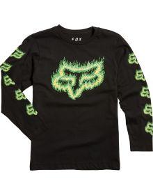 Fox Racing Flame Head Youth Long Sleeve Shirt Black/Green