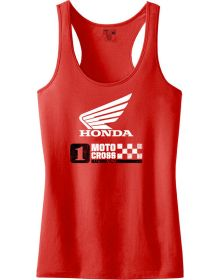 Factory Effex Honda Womens Motocross Tank Top Red