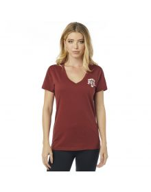 Fox Racing Finish Line Vneck Womens T-Shirt Bordeaux