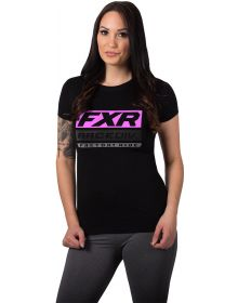 FXR Race Division Womens T-Shirt Black/Electric Pink
