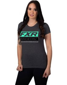 FXR Race Division Womens T-Shirt Charcoal Heather/Mint