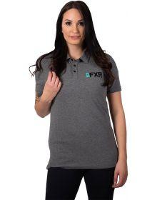 FXR Evo Tech Polo Womens Shirt Grey Heather/Maroon