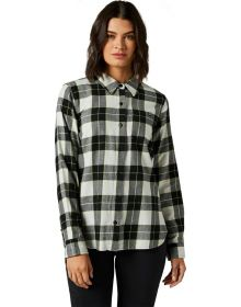 Fox Racing Pines Womens Flannel Shirt Light Gray