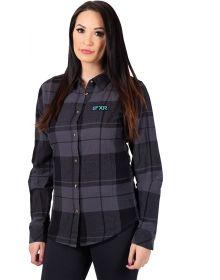 FXR Track Plaid Womens Shirt Black/Grey