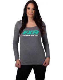 FXR Team Long Sleeve Womens Shirt Grey Heather/Mint