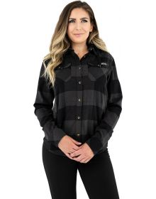 FXR Timber Hooded Flannel Womens Shirt Charcoal/Black