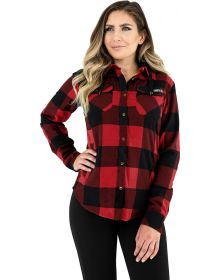 FXR Timber Hooded Flannel Womens Shirt Rust/Black