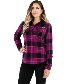 FXR Timber Hooded Flannel Womens Shirt Wineberry/Black