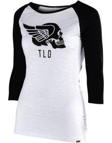 Troy Lee Designs Agent Skully Womens Longsleeve T-shirt Black/White