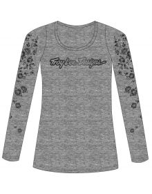 Troy Lee Designs Signature Floral Womens Long Sleeve Shirt Gray