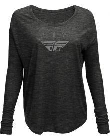 Fly Racing Logo Womens Long Sleeve T-Shirt Dark Grey Heather