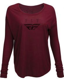 Fly Racing Logo Womens Long Sleeve T-Shirt Maroon