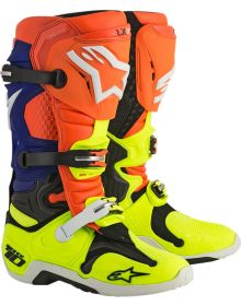 Alpinestars 2018 Tech 10 Boots Orange Fluo/Blue/White/Yellow Fluo