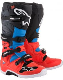 Alpinestars 2018 Tech 7 Boots Red Fluo/Cyan/Gray/Black