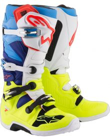 Alpinestars 2018 Tech 7 Boots Yellow Fluo/White/Blue/Cyan