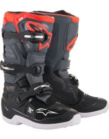 Alpinestars Tech 7S Youth Boots Black/Dark Gray/Fluo Red