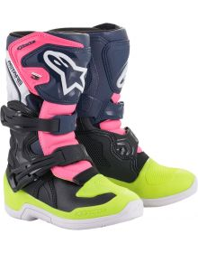 Alpinestars 2021 Tech 3S Youth Boots Black/Pink/Yellow Fluo