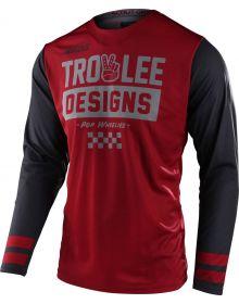 Troy Lee Designs Scout GP Jersey Peace & Wheelies Burgundy/Dark Gray