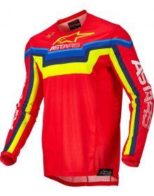 Alpinestars 2022 Techstar Quadro Jersey Bright Red/Fluo Yellow/Blue