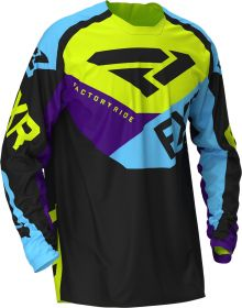 FXR 2020 Podium MX Jersey Black/Sky Blue/Purple/Hi Vis