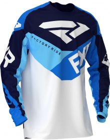 FXR 2020 Podium Air MX Jersey White/Navy/Blue